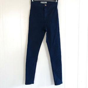 Topshop Joni Moto Dark Blue Jeans - Size 26
